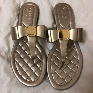 Cole Haan Gold Bow Sandals🌻 NWOB 6.5